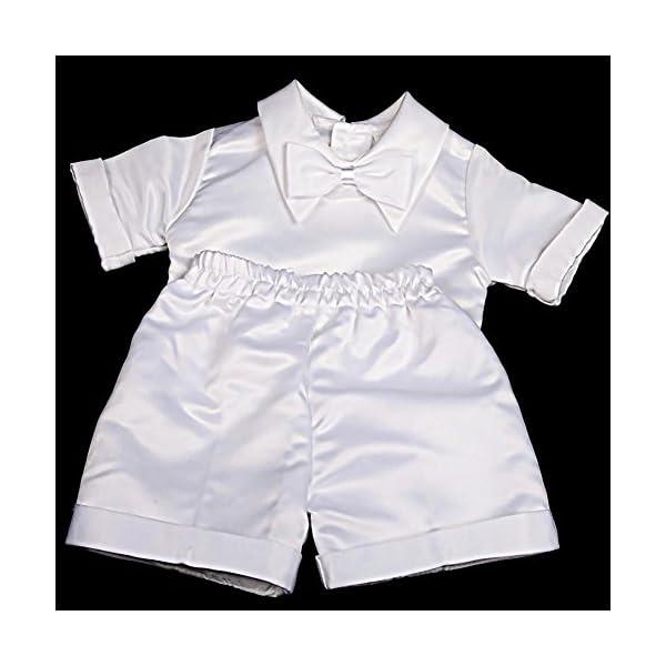 Lito Angels - Tuta da battesimo in raso, 4 pezzi, con cofano a maniche corte e lunghe 5