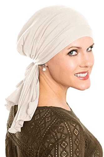 Cardani So Simple Scarf - Pre Tied Head Scarf for Women in Soft Bamboo - Cancer & Chemo Patients Luxury Bamboo - Cream