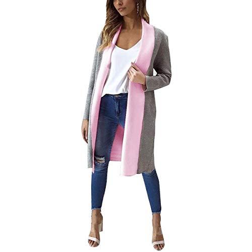 Coats Pink abierto Invierno Coat tallas Thick Color Invierno L Abrigo ZFFde Color grandes Long Block Mujeres Cardigan tamaño fZOBqz