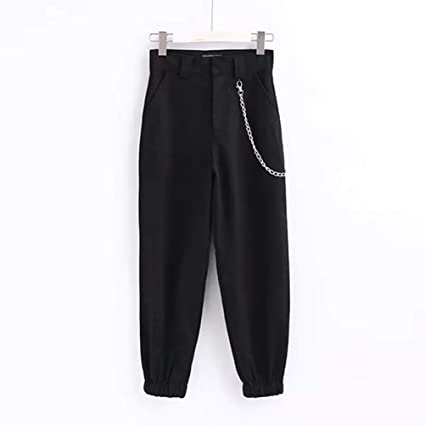 Feidaeu Pantalones de chándal Streetwear Cintura Alta Piel Suelta ...
