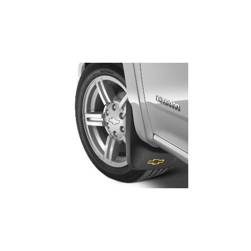 GM # 12499692 Splash Guards - Front & Rear Molded Set - Gray with Chevy Bowtie Logo