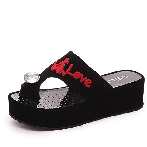 AmoonyFashion Women's Frosted Pull-on Split Toe Kitten-Heels Assorted Color Slippers, Black, 39 by AmoonyFashion
