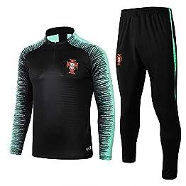 XunZhiYuan Portugal Costumes d'entraînement à Manches Longues Accueil Uniformes par équipe Football Uniformes Demi-Fermeture Éclair Chandail Warm-Up Suit