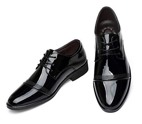 LOVDRAM Chaussures en Cuir pour Hommes Fashion Men Office Shoes Patent Leather Men Dress Shoes Black Social Sapato Male Soft Leather Wedding Oxford Shoes