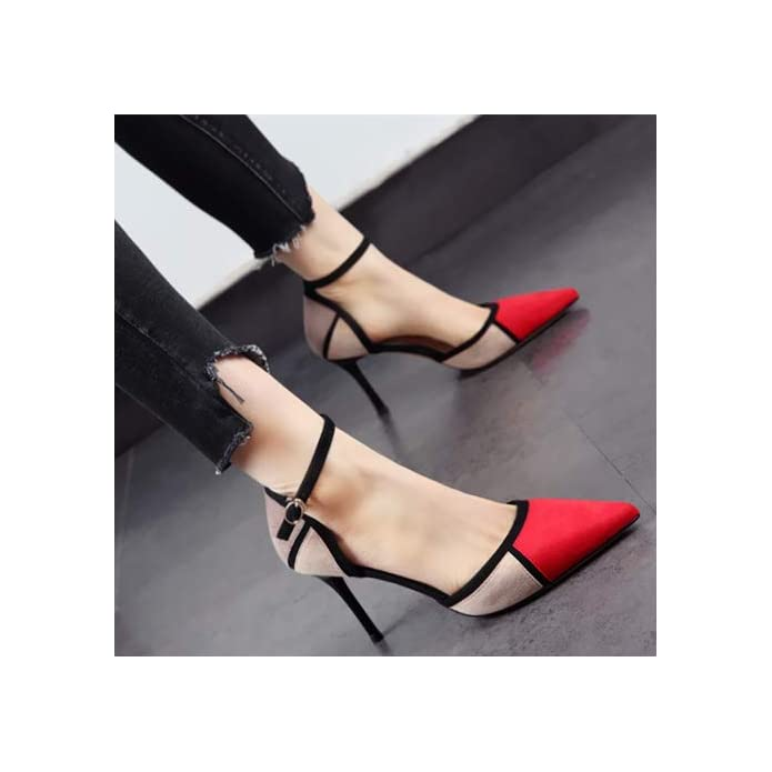 Hoesczs 2019 Spring New Pointed Shoes Brand Color Matching Stiletto High Heels Hollow Word Buckle Was Thin Single Female