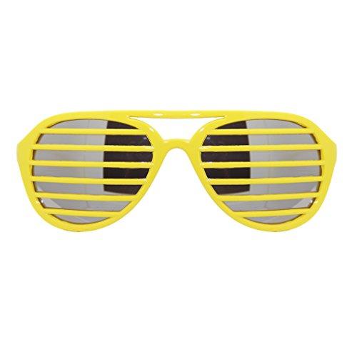 Aviator Pilot Shutter Party Club Sunglasses Mirror Lens (Yellow, Silver - Shutter Yellow Shades