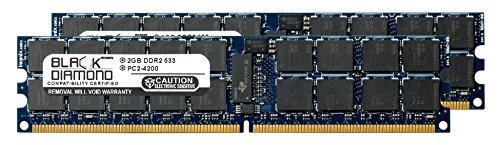 (4GB 2X2GB Memory RAM Sun Netra T2000 Server DDR2 ECC Registered RDIMM 240pin PC2-4200 533MHz Black Diamond Memory Module)