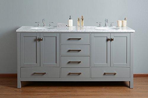 "GM-6412-72GY-CR 72"" Malibu Grey Double Sink Bathroom Vanity, Gray"