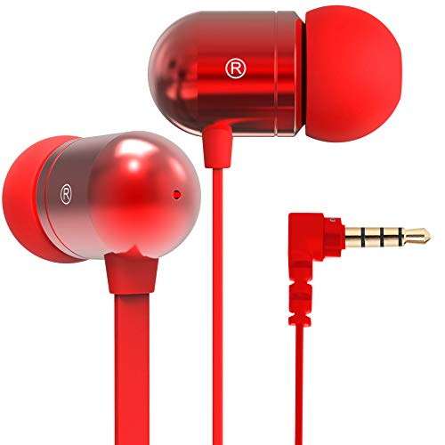 Betron B750s Earphones Headphones, High Definition, in-ear, Tangle-Free, Noise Isolating , Heavy Deep Bass for 아이폰, iPod, iPad, MP3 Players, Samsung Galaxy, Nokia, HTC, Nexus (Red)