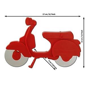 Pizzaschneider Pizzamesser Pizzaroller Modell MotoRoll mit scharfen Rädern...