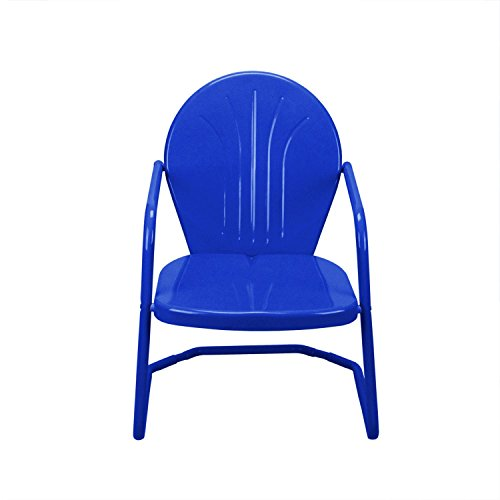 LB International Retro Style 34 Inch Outdoor Metal Tulip Chair, Electric Blue