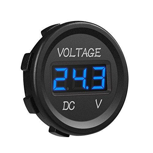 MICTUNING MIC-VM DC 12V LED Display Voltmeter Waterproof for Boat Marine Vehicle Motorcycle Truck ATV UTV Car Camper Caravan Blue Digital Round Panel,
