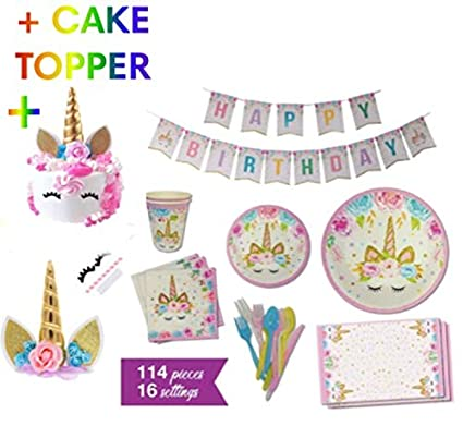 Amazon.com: Unicorn Party Supplies – Servicio para 16 ...