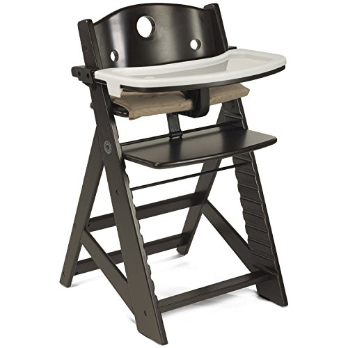 Espresso, Wooden Baby Highchair with Adjustable Foot & Seat