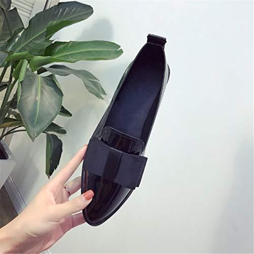 Mujer Casuales De Nudo En Negro Con Decoración Arco Deslizamiento Plano Puntiagudos Zapatos twBdd