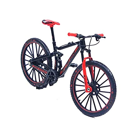Ailejia Mini Finger Mountain Bikes Racing Bicycle Finger Bike Toy Mini Bicycle Vehicles Model Decoration Crafts for Home (Black Red): Toys & Games