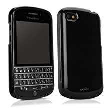 BlackBerry Q10 Case, BoxWave® [Tuxedo SuitUp Case] Glossy Black TPU Gel Skin Case for BlackBerry Q10