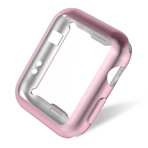 Apple Watch 3/2 Screen Protector 38mm, UMTELE Plated TPU Case Integrated Screen Protector Slim Lightweight Protective Bumper Cover for Apple Watch Series 3 2 Rose Gold Photo #4