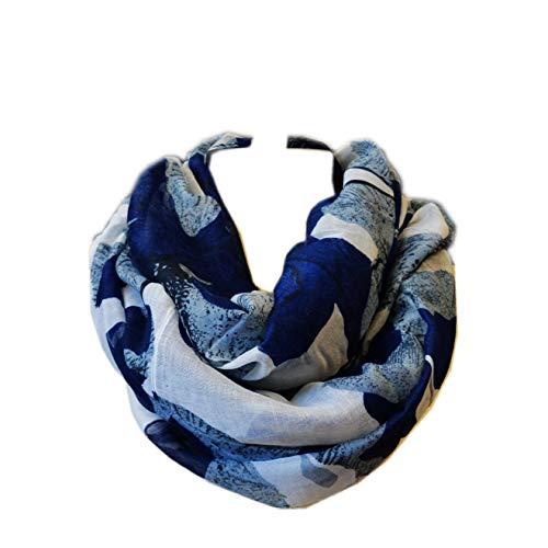 SCARF_TRADINGINC Floral Light Weight X-large Infinity Scarf (White Navy) (Unisex Scarf Fashion)
