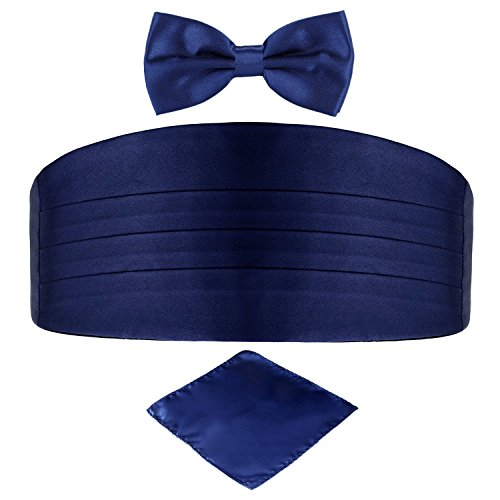 Men's Satin Belt Cummerbund Bow Tie Pocket Square Handkerchief Hanky Set Tuxedo Party (Navy - Navy Cummerbund