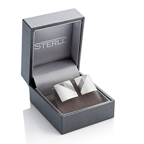 STERLL Men Cufflinks, Solid Sterling Silver 925 Brushed with an Oxidized stripe, with Gift Box, Gift Ideas for ()