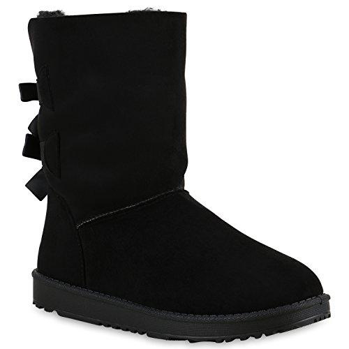 Damen Schlupfstiefel Warm gefütterte Stiefel Glitzer Boots Profilsohle Kunstfell Schuhe Strass Leder-Optik Stiefel Flandell Schwarz Schwarz Schleife