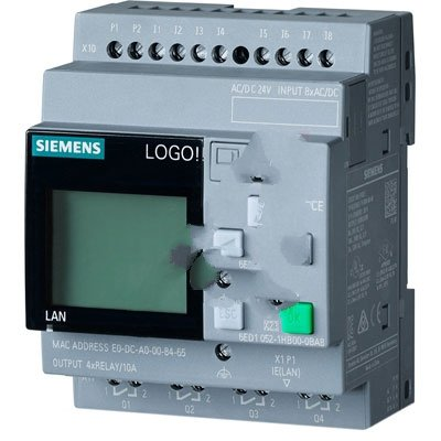 Siemens 6ED1052-1HB00-0BA8 , Controller, Logic, LOGO! 8, 24RCE, WithDisplay, 8DI(4AI), 4DO, 400 Blocks (SII)