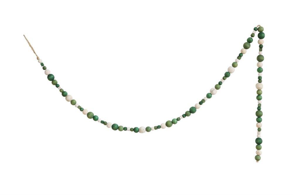 Heart of America Paulownia Wood Bead Garland Green - 6 Pieces