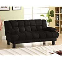 Furniture of America Lucky Elephant Skin Microfiber Futon, Black