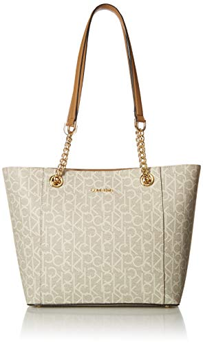- Calvin Klein Hayden Signature East/West Top Zip Chain Tote, Textured Almond/Khaki