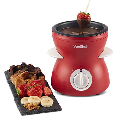 VonShef Fondue Pot, Electric Chocolate Melting Set, Chocolatier Warmer Includes Spatula, 10 Skewers & 10 Forks For Dipping Candy, 2 Heat Settings for Easy Melting (Red)