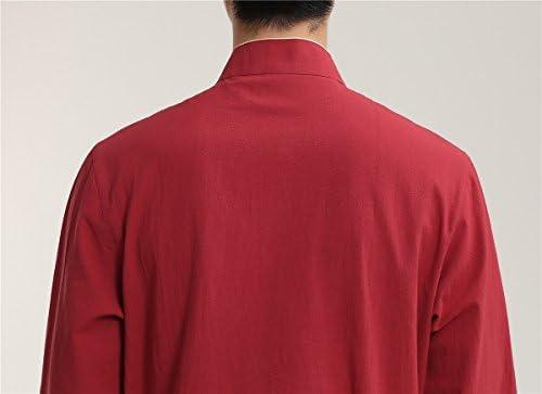 (上海物語) Shanghai Story 男性 棉麻 長袖 ショット丈 チャイナトプス チャイナシャツ 中華風 中国 伝統服 中華服 メンズ チャイナ風 カンフー衣装 武術シャツ