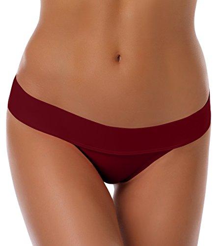 SHEKINI Women's Fold Over Solid Waistband Swimwear Brazilian Thong Bikini Bottom (Small/(US 4-6), Wine Red)
