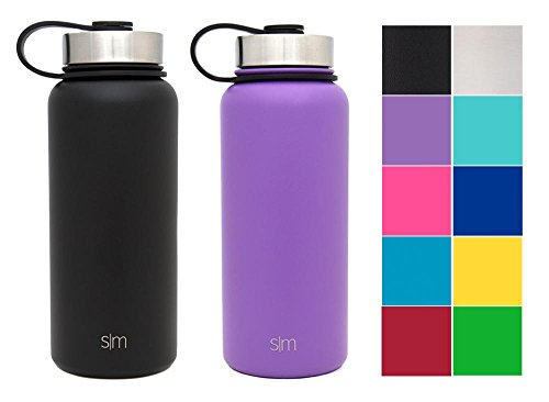 Simple Modern 32oz Summit Water Bottle 2 Pack - Two Vacuum Insulated 18/8 Stainless Steel Wide Mouth Hydro Travel Mugs - Powder Coated Double-Walled Flask - Lilac Purple/Midnight Black