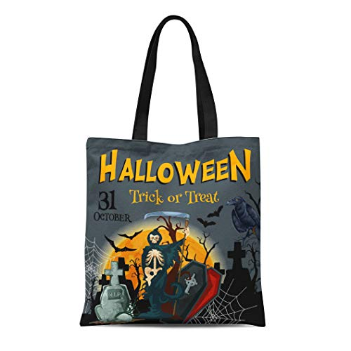 Semtomn Cotton Canvas Tote Bag Halloween Trick Treat Party for 31 October Horror Night Reusable Shoulder Grocery Shopping Bags Handbag Printed -