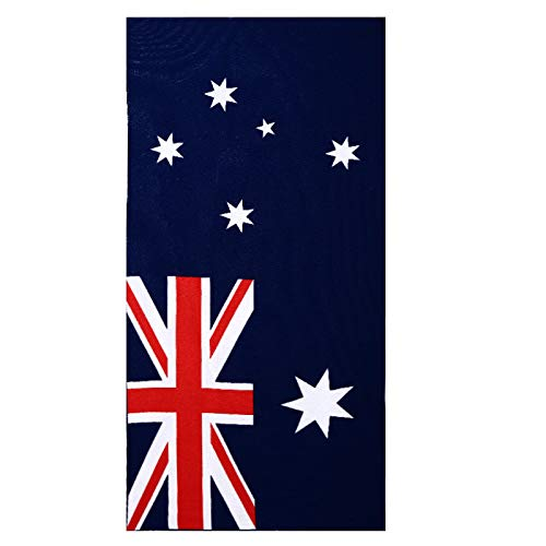 PINv Fun Beach Towel Oversized 30 x 60 inch Microfiber Bath Towel Extra Large for Kids Adult for Travel Gym Yoga Sports Swim Camping Spa Sunbed Cover Australia Flag Printed (Best Bath Towels Australia)