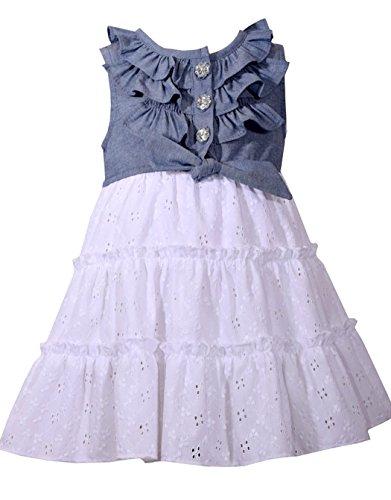Girls' Chambray Dress, Blue, 2T ()