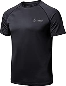CLSL TM-MTS03-KKZ_Large Tesla Men's HyperDri Short Sleeve T-Shirt Athletic Cool Running Top MTS03