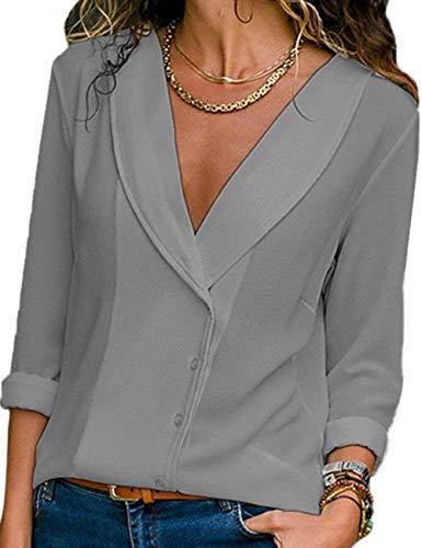 Mousseline Blouse lgant Tops Tunique Longue Tee Classique Col Chemise Bouton V de Chic Femme T Shirts Manche Soie Casual Gris Chemisier Hauts xTqwtzYB
