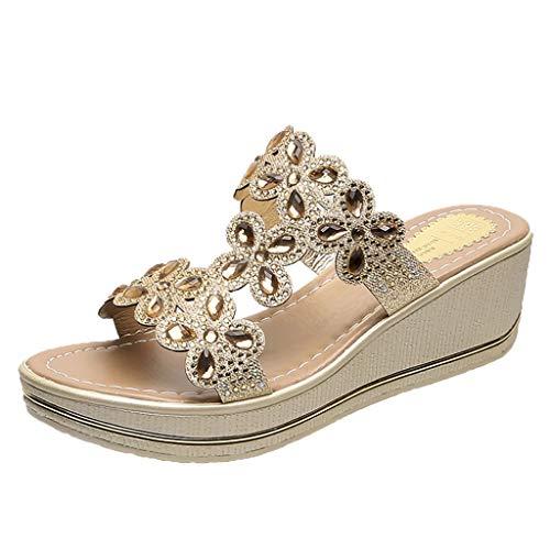 SUNyongsh Women Rhinestone Sandals T-Strap Buckle Bohemia Crystal Wedges Thick Peep Toe Slippers Shoes ()