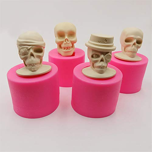3D Skull Head Silicone Mold Halloween Series Cake Decoration Chocolate Tool Candle Soap Mould