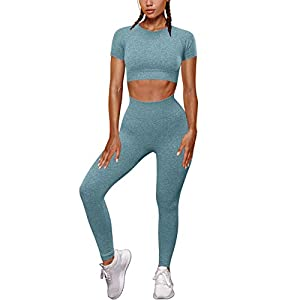 OYS Womens Yoga 2 Pieces Workout Outfits Seamless High Waist Leggings Sports Crop Top Running Sets