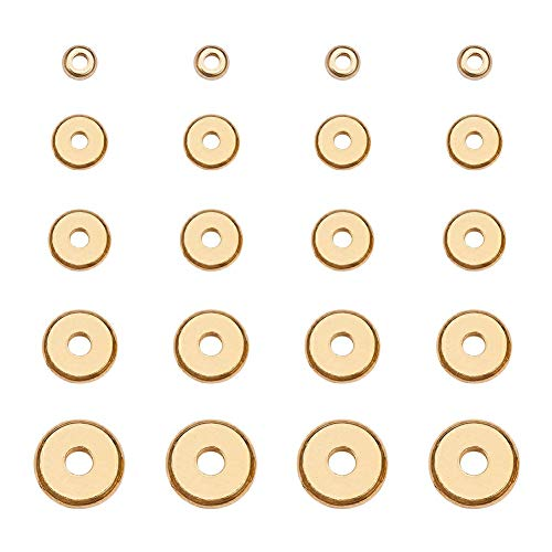 PH PandaHall 250pcs 5 Size Flat Round Golden Brass Disc Rondelle Spacer Beads Jewelry Metal Spacers for Bracelet Necklace Jewelry Making