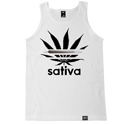 FTD Apparel Men's Sativa Logo Tank Top - Medium White