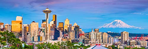 - Seattle Skyline PHOTO PRINT UNFRAMED Dusk Color City Downtown 11.75 inches x 36 inches Rainier Photographic Panorama Poster Picture Standard Size