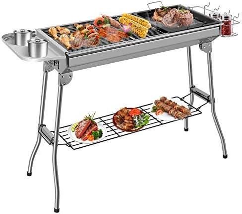 Femor Barbecue à Charbon, Barbecue Pliant Portable, BBQ de Table en Acier Inoxydable, pour Barbecue de Jardin, extérieur Camping et Pique Nique, AVCE Poêle à Frire antiadhésive (pour 5-10 Personnes)