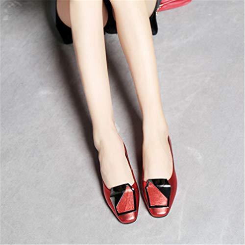 véritable Luxe Pieds Gamme Femmes en de de de Minces Cuir Mode Chaussure Hauts de Femme Chaussures Mariage carrés la Rouge Talons de Chaussures YvtwvC