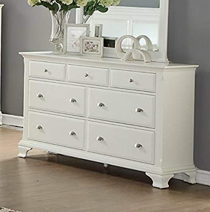 Amazon.com: Hebel Laveno White Wood 7 Drawer Dresser | Model ...
