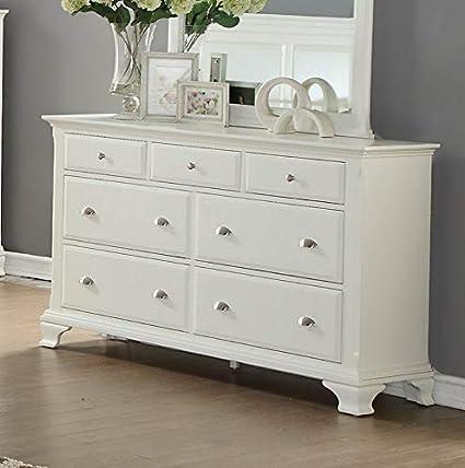 Amazon.com: Hebel Laveno White Wood 7 Drawer Dresser | Model ...