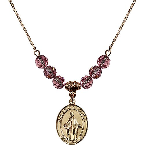 18-Inch Hamilton Gold Plated Necklace with 6mm Light Rose Pink October Birth Month Stone Beads and Our Lady of Africa Charm by Bonyak Jewelry